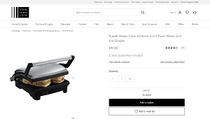3-in-1 Panini Maker, Grill and Griddle by Russell Hobbs Cook at Home