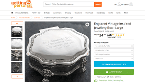 Engraved Vintage Style Jewelry Box