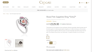 Clogau Gold Rose Pink Sapphire Ring