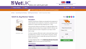 VetUK XL Dog Wormer Tablets
